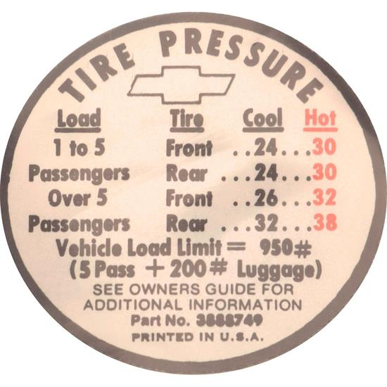 Jim Osborn DC0626 SS Tire Pressure Decal, 1966 Chevy II