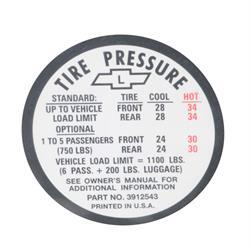 Jim Osborn DC0623 1967 Chevy II/Nova Tire Pressure Decal