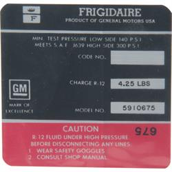 Jim Osborn DC0601 AC Compressor Frigidaire Red Label Decal, 67 Camaro