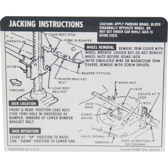 Jim Osborn DC0117 Jacking Instructions Decal, 67-68 Camaro Convertible