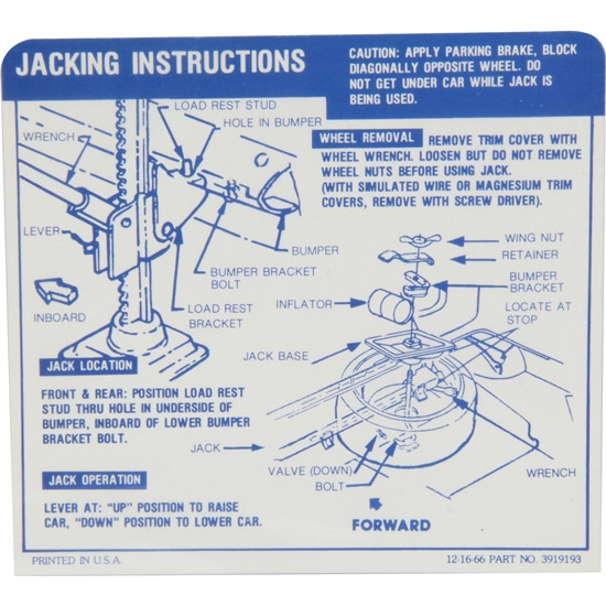 Jim Osborn DC0794 Jacking Instructions Decal, 67-68 Camaro Convertible