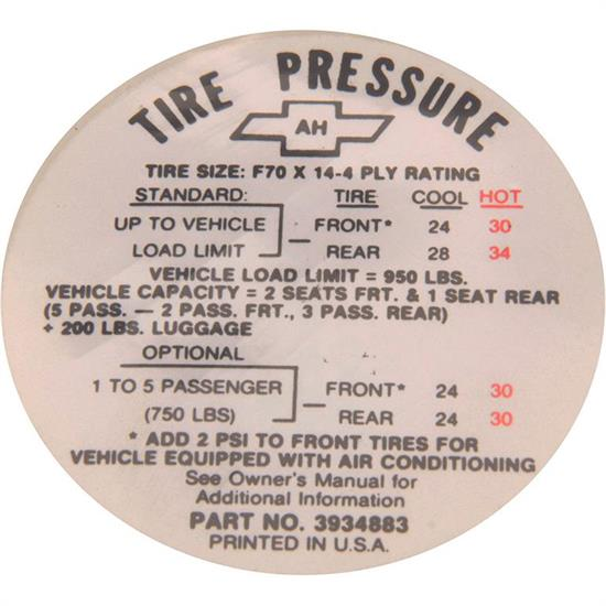 Jim Osborn DC0621 Tire Pressure Decal for 1968 Camaro SS