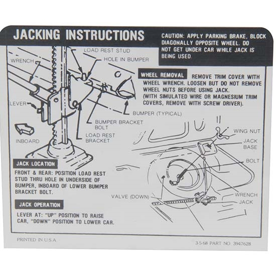 Jim Osborn DC0792 Jacking Instruction Decal for 1968 SS Camaro Coupe