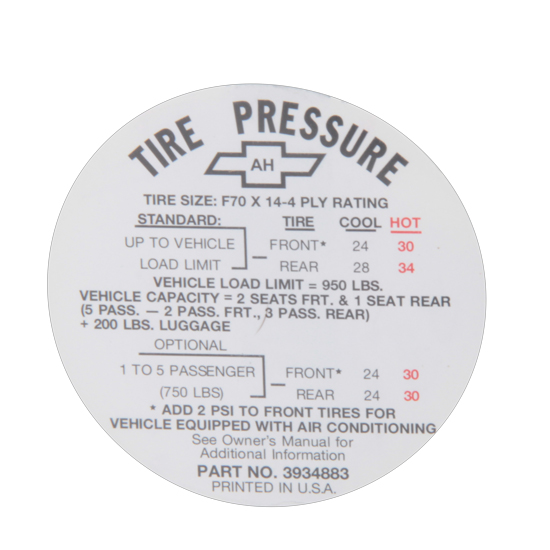 Jim Osborn DC0621 1968 SS Tire Pressure Decal