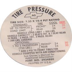 Jim Osborn DC0123 Tire Pressure Decal, 68 Camaro/67 Chevelle/Chevy II
