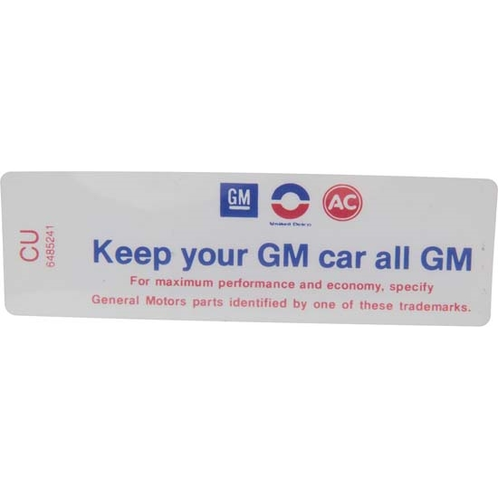 Jim Osborn DC0918 Z/28 Keep Your GM Car All GM Air Cleaner Decal