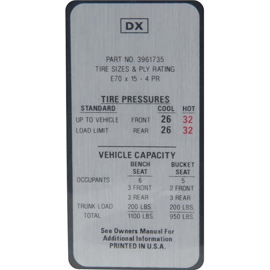 Jim Osborn DC0412 Tire Pressure Decal for 1969-70 Camaro Z/28
