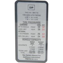 Jim Osborn DC0411 Tire Pressure Decal for 1969-70 Camaro/Nova/Chevelle
