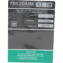 Jim Osborn DC0738 AC Compressor Frigidaire Green Label Decal, Camaro
