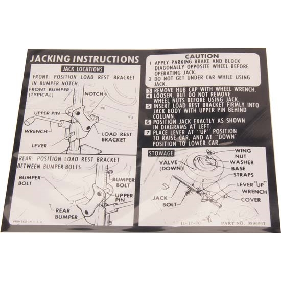 Jim Osborn DC0502 Jacking Instructions Decal for 1971-72 Camaro