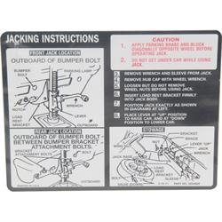 Jim Osborn DC0537 Jacking Instruction Decal for 1971-72 Nova