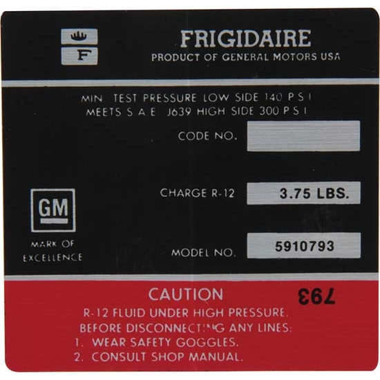 Jim Osborn DC0609 AC Compressor Frigidaire Red Label Decal, 72 Camaro