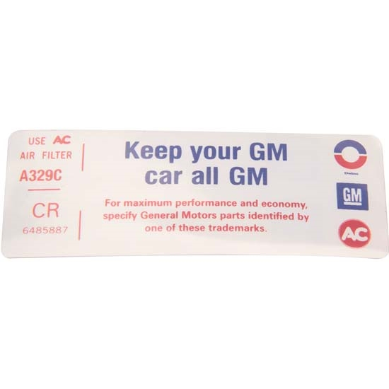 Jim Osborn DC0627 Z/28 Keep Your GM Car All GM Air Cleaner Decal