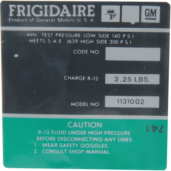 Jim Osborn DC0742 AC Compressor Frigidaire Green Label Decal, Camaro