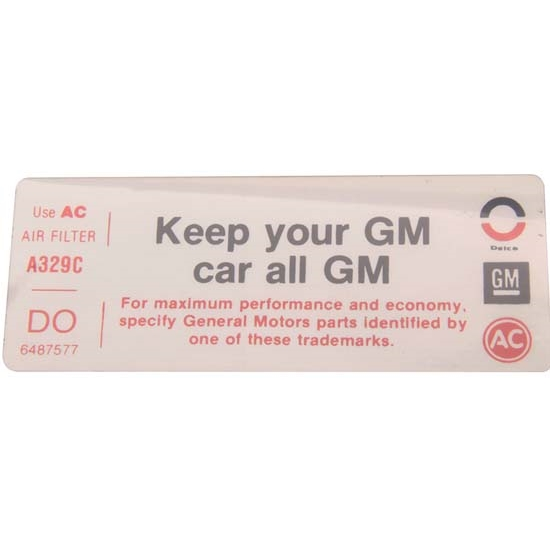 Jim Osborn DC0628 Keep Your GM Car All GM Air Cleaner Decal, 1973 Nova
