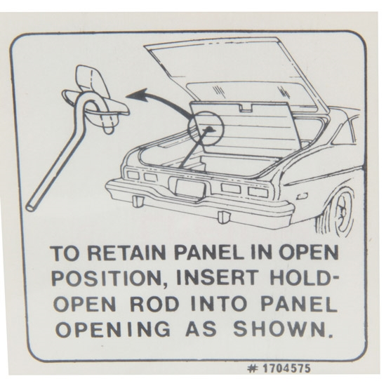 Jim Osborn DC0641 Jacking Instructions Decal, 73-74 Nova Hatchback Lid