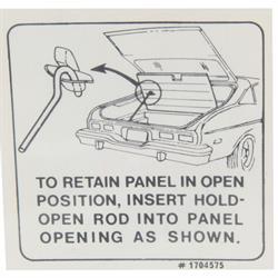 Jim Osborn DC0641 Jacking Instructions Decal, 73-74 Nova Hatchback Lid