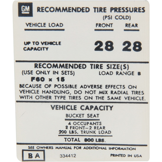 Jim Osborn DC0643 Z/28 Tire Pressure Decal for 1974 Camaro