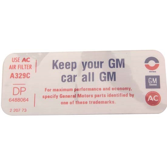 Jim Osborn DC01313 350 Keep Your GM Car All GM Air Cleaner Decal