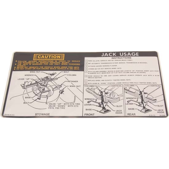 Jim Osborn DC0329 Jacking Instructions Decal for 1974-75 Camaro