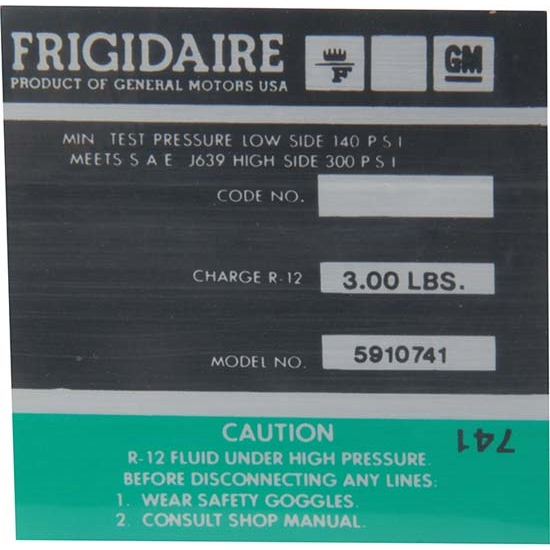 Jim Osborn DC0739 AC Compressor Frigidaire Green Label Decal, Camaro