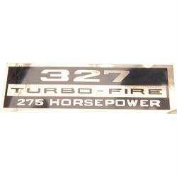 Jim Osborn DC0036 Turbo Fire 327 275 HP Valve Cover Decal, Black/Gold