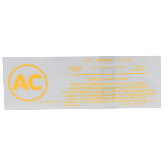 Jim Osborn DC0466 396/675 or 427/425 AC Spark Plug Decal