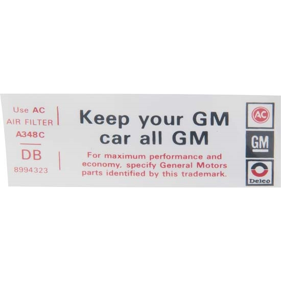 Jim Osborn DC0629 Keep Your GM Car All GM Decal for 1974 Nova