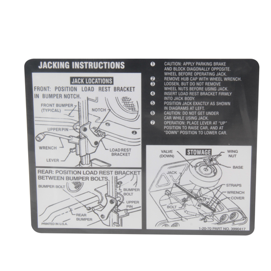 Jim Osborn DC0375 1970 Camaro Jacking Instructions Decal