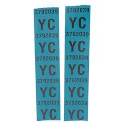 OER 3972039  YC Tape Sticker Decal, 1967 Camaro Small Block