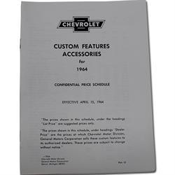 OER L1964A 1964 Chevrolet Nova Accessory Price List