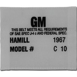 OER 1256647 Hamill C-10 Seat Belt Label for 1967 Camaro