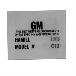 OER 1256648 Hamill C-11 Seat Belt Label for 1968 Camaro