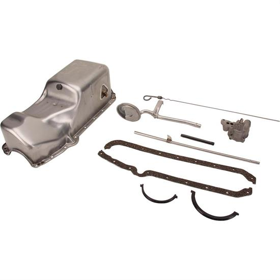 wet sump sump style, steel, natural, driver side dipstick location, 2-piece  rear main pan style