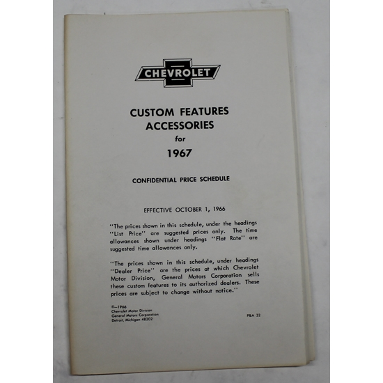 Jim Osborn 67-AL 1967 Chevy Nova Accessory Price List