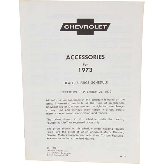 Dave Graham 73-AL Chevy Nova Accessory Price List