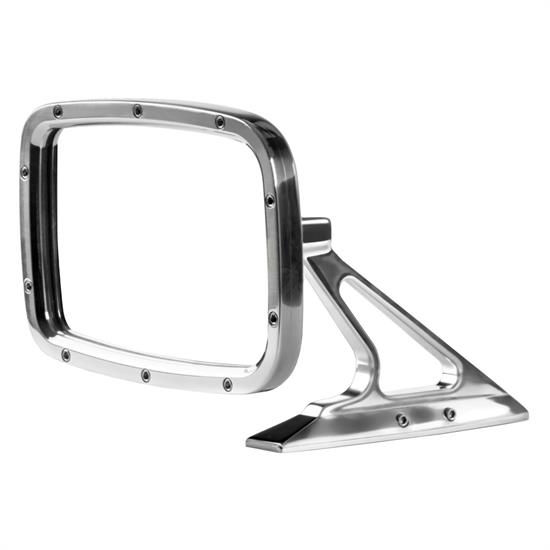 Rectangular Billet Exterior Rear View Mirror, Convex Glass