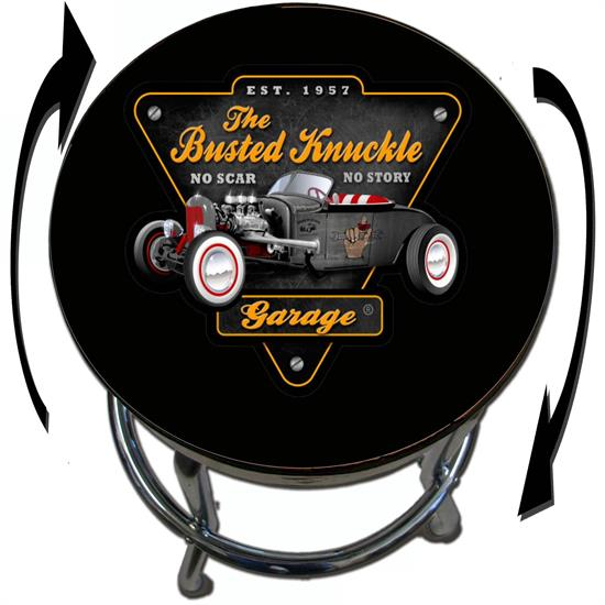 Busted Knuckle Garage 09-BKG-86-RODBLK Hot Rod Black Barstool