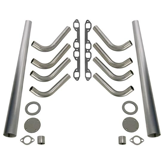Ford 292-312 Y-Block Lake Style Header Kit, 1-5/8 Tube, 3-1/2 In Cone