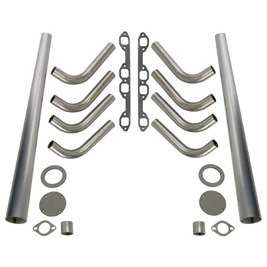 Ford 292-312 Y-Block Lake Style Header Kit, 1-5/8 Tube, 4 Inch Cone