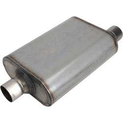 Stainless Steel Chamber Muffler, 2.25 Inch, Offset/Centered