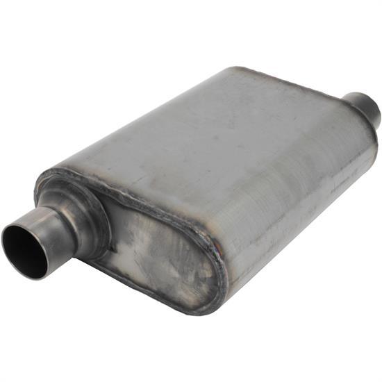 Stainless Steel Chamber Muffler, 2 25 Inch, Offset/Offset