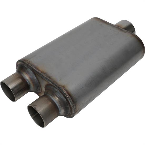 Stainless Steel Chamber Muffler, 3 Inch Centered/ 2.5 Dual Outlet