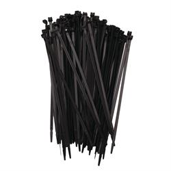 Zip Tie Wraps, Stainless Steel Tooth, Black, 100 per Bag
