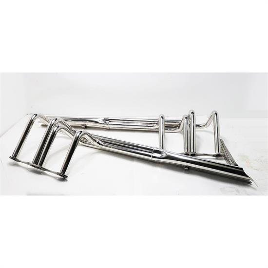 Speedway Small Block Chevy V8 Polished Stainless Steel Shotgun He