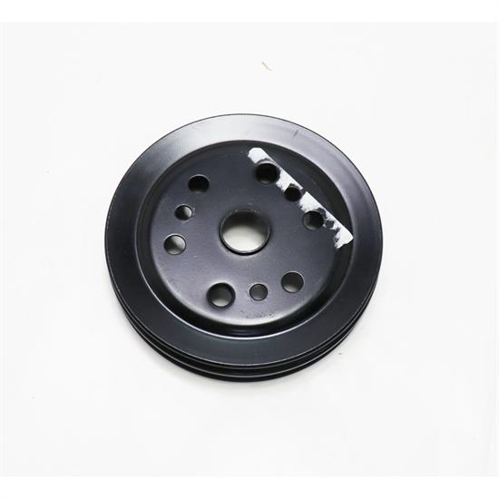 Double Groove S//B Chevy Crank Pulley Black