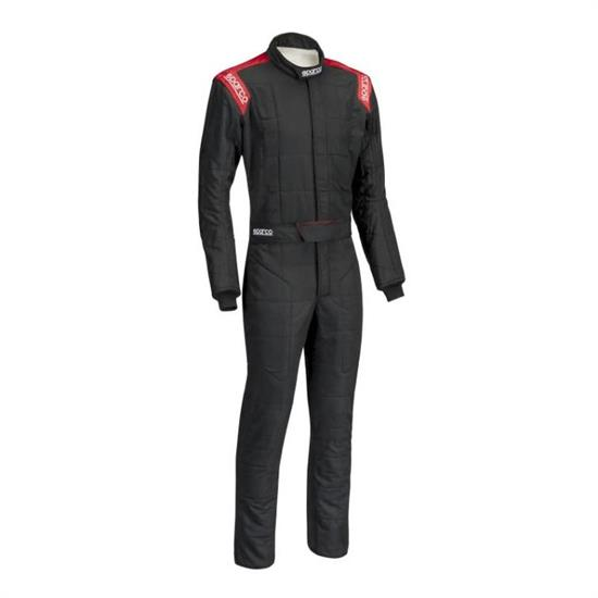 Sparco Conquest SFI5 Racing Suit, Black/Red Size 56