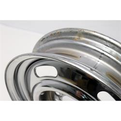 GM Dual Pattern Chrome 15x4 Rally Wheel, 4.5 Inch-4.75 Inch