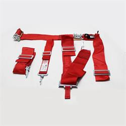 Garage Sale - Crow Enterprizes 5-Way Ratchet Seat Belt Harness Set, Red