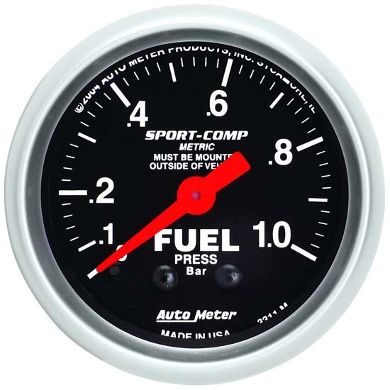 Garage Sale - Auto Meter 3311-M Sport-Comp Mechanical Fuel Pressure Gauge